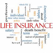 stock photo of proceed  - Life Insurance Word Cloud Concept with great terms such as term whole life rider quote and more - JPG