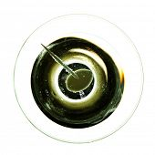 Abstract view of cocktail with olive