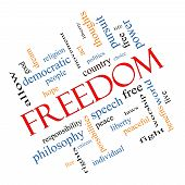 stock photo of freedom speech  - Freedom Word Cloud Concept Angled with great terms such as free life hope peaceful and more - JPG