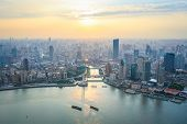 Bird's Eye View Of Shanghai In Sunset