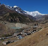 Beautiful village Manang and Tilicho Peak, Nepal