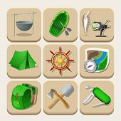 Camping color icons. Vector illustration