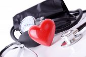stock photo of sphygmomanometer  - Medical equipment to check your  heart health - JPG