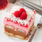 No Bake Chocolate, Raspberry And Savoiardi Layer Cake, Close Up