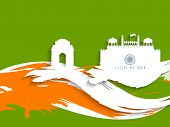 Happy Indian Republic Day concept with silhouette of India Gate, Red Fort on national flag color wave background.