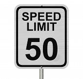 stock photo of mph  - A white American road sign with words Speed Limit and 50 isolated over white Speed Limit 50 Sign - JPG