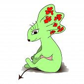 Green cartoon sitting animal. Isolated.