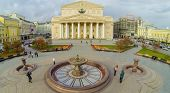 MOSCOW - OCT 23: View from unmanned quadrocopter to Bolshoi Theatre with fountain in front part on October 23, 2013 in Moscow, Russia.