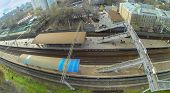 MOSCOW - OCT 25: View from unmanned quadrocopter to railway platform with people on October 25, 2013