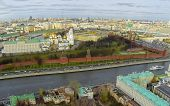MOSCOW - OCT 26: View from unmanned quadrocopter to city landscape with Cathedral of the Dormition a