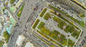 MOSCOW - OCT 10: The intersection of the Garden Ring and Kudrinskaya Square (view from unmanned quad