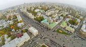 MOSCOW - OCT 10: Cityscape with car traffic on highway and different buildings in intersection of Ga