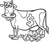 stock photo of cash cow  - Black and White Cartoon Concept Illustration of Cash Cow Saying for Coloring Book - JPG