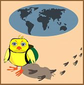 Cute chicken with a backpack in cartoon stile, vector illustration to the concept of tourism. Globe