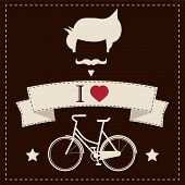 I love hipster vintage hair style, mustache and bicycle, vector illustration