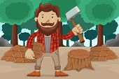 Hipster Chopping Wood