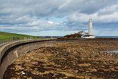 image of tyne  - Flood defences and promenade to st marys lighthouse near tynemouth on the North East Coast of England - JPG