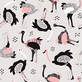 Seamless camel birds ostrich modern illustration background pattern in vector