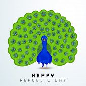 Happy Indian Republic Day concept with national bird peacock on blue background.