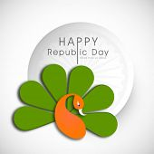 Happy Indian Republic Day concept with illustration of peacock in national flag colors on grey background.