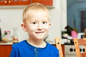 Portrait Happy Smiling Blond Boy Child Kid Preschooler At Home