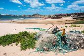 Nets On The Punta Del Diablo Beach, Uruguay Coast