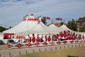 VALENCIA, SPAIN - DEC 27: The circus tents of the Gran Circo Mundial in Valencia, Spain on December