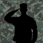Saluting Soldier's Silhouette On A Green Army Camouflage Background Vector