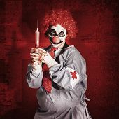 Dr Death Clown With Big Red Hypodermic Needle