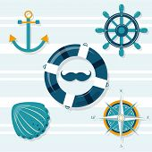 Set Of 9 Nautical Illustrations