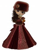 Toon Winter Prinzessin in rot