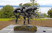 Cyclistes Sculpture At Olympic Museum In Lausanne, Switzerland