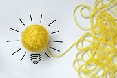 stock photo of metaphor  - Inspiration wool light bulb metaphor for good idea - JPG