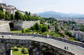 ERGAMO, LOMBARDY, ITALY - MAY 29: Scenery and the town wall of the Bergamo Citta Alta, May 29, 2011 in Bergamo, Lombardy, Italy