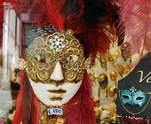 VENICE, VENETO, ITALY - MAY 24: Venetian masks for sale in a shop window. May 24, 2011 in Venice, Ve