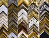stock photo of exposition  - Vintage wooden frames for pictures in art salon - JPG