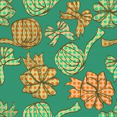 Seamless Hand Drawn Vintage Background With Bows And Ribbons
