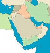 A stylized map of the  Middle East showing the different countries. All isolated on white background.