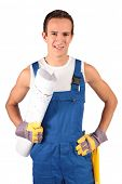 A young construction worker trainee. All isolated on white background.