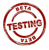 A stylized red stamp that shows the term beta testing. All on white background.