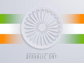 stock photo of ashoka  - Happy Indian Republic Day concept with stylish Ashoka Wheel on national flag colors stripes background - JPG