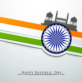 pic of ashoka  - Happy Indian Republic Day concept with silhouette of Red Fort on national flag colors background with Ashoka Wheel - JPG