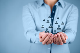 foto of labor  - Customer care care for employees labor union CRM and life insurance concepts - JPG