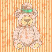 Sketch Teddy Bear In Hat, Vector Background