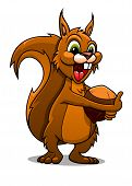 Cartoon squirrel with nut