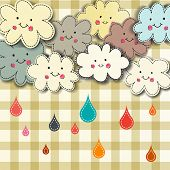 Rain and cute smiling clouds