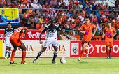 Sisaket Thailand-may 28: Jaime Braganca Of Chonburi Fc. (white) In Action During Thai Premier League