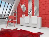 Striking red and white bathroom interior in a sloping room with a deer head mounted on the wall, ani
