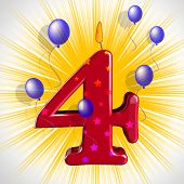 Number Four Party Means Wax Cake Candle Or Birthday Candle