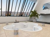 Sunken trefoil shaped hot tub or spa bath in a modern bathroom overlooked by large sloping windows w